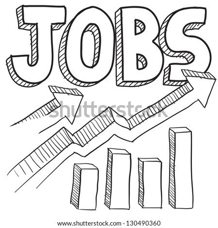 Doodle style jobs or employment increasing illustration in vector format.  Includes text and up arrows with bar graph.