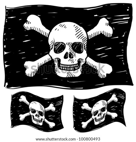 Doodle style jolly roger skull and crossbones illustration in vector format