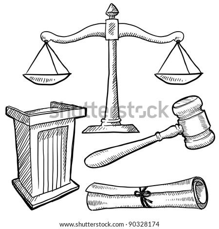 Doodle style justice or law vector illustration with podium, gavel, and scales of justice