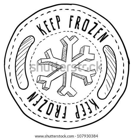Doodle style keep frozen food label sketch in vector format.