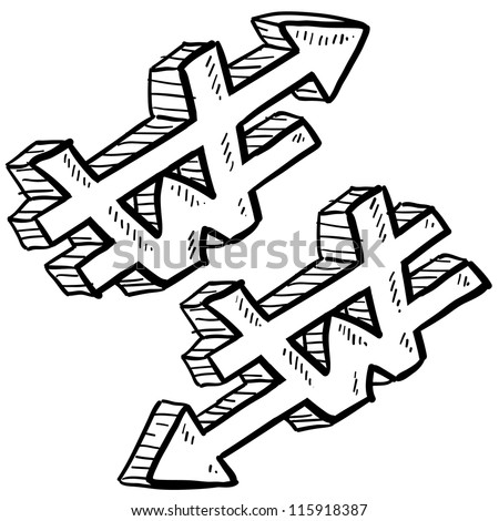 Doodle style Korean Won international currency symbol with arrows up and down to indicate inflation, deflation, evaluation, or devaluation as economic indicators. Vector format.