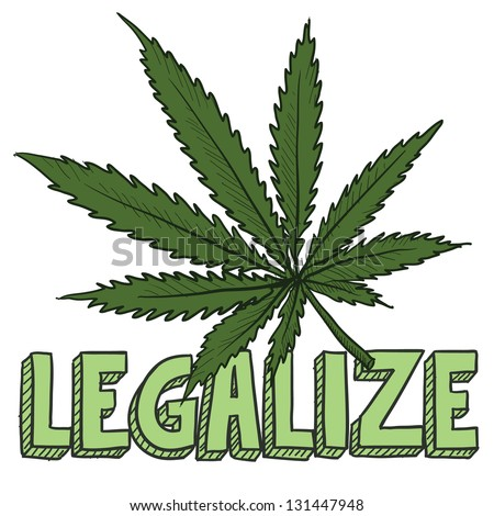 Doodle style legalize marijuana leaf sketch in vector format.  Includes text and pot plant.