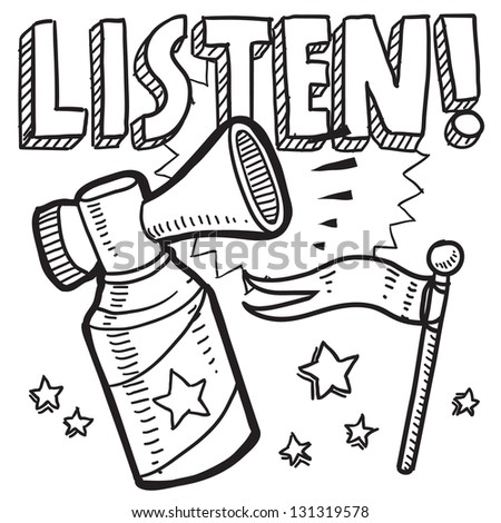 Doodle style listen announcement icon in vector format.  Sketch includes text, air horn, and flag.