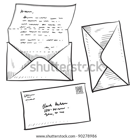 Doodle style mail, contact, message, or envelope vector illustration