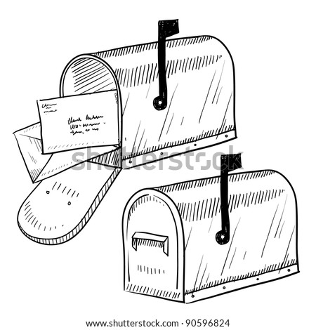 Doodle style mailbox or post box illustration in vector format