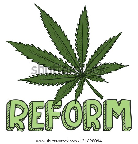 Doodle style marijuana law reform sketch in vector format.  Includes text and pot leaf.
