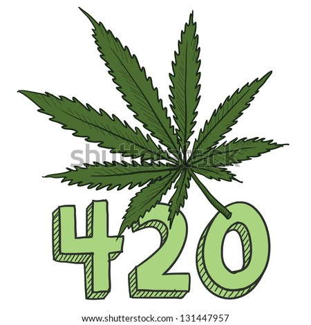 Doodle style 420 marijuana leaf sketch in vector format.  Includes text and pot plant.