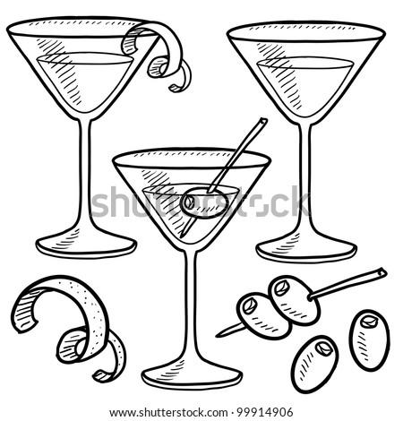 Doodle style martini drink set including olives, glass, lemon or orange peel, and stirrers