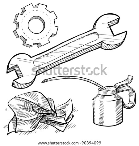 Doodle style mechanic or car maintenance vector illustration with oil can, wrench, gear, and rag