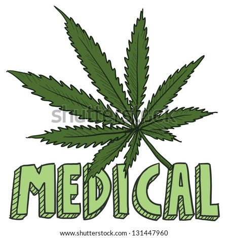 Doodle style medical marijuana leaf sketch in vector format.  Includes text and pot plant.