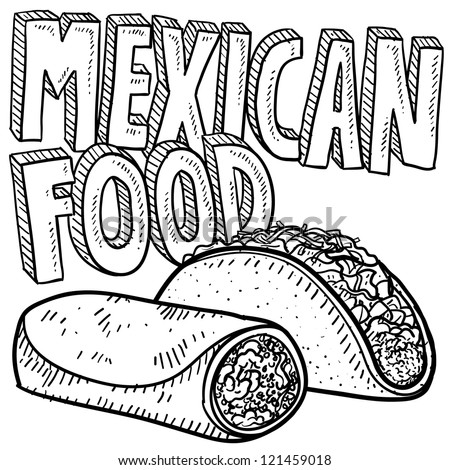 Doodle style Mexican food sketch, including text message, burrito, and tacos in vector format.