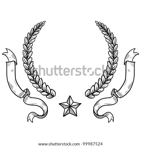 Doodle style military insignia crest with wreath, ribbon, and star in vector format