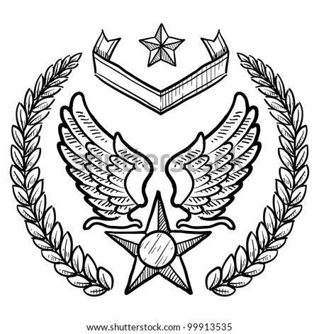 Doodle style military insignia for US Air Force including eagle wings and star