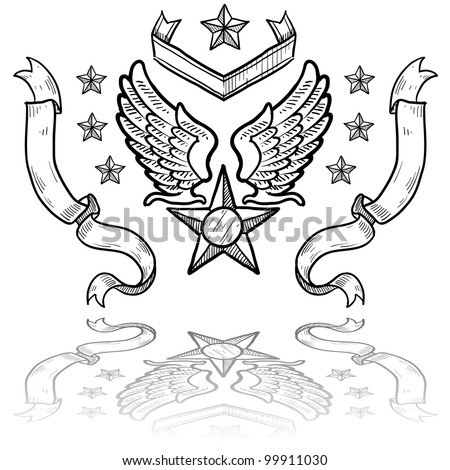 Doodle style military rank insignia for US Air Force, retro with eagle wings and star