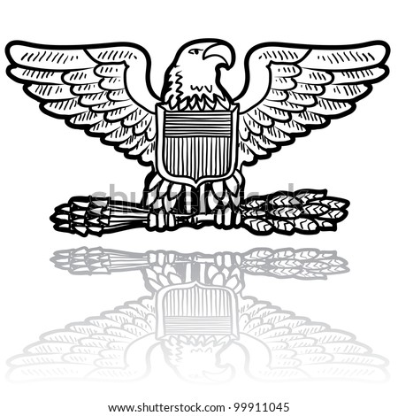 Doodle style military rank insignia for US Army including Eagle with sheaf of wheat - stock vector