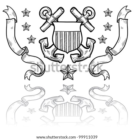 Doodle style military rank insignia for US Coast Guard including crossed anchors behind shield