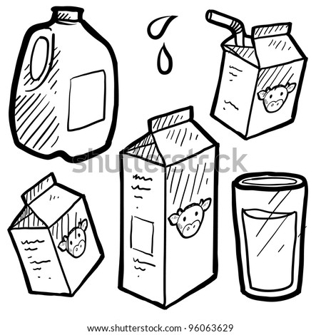 Doodle style milk and juice illustration set in vector format. Includes paper and plastic cartons and full glass of liquid.