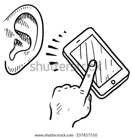 Doodle style mobile device communication sketch in vector format. Can be used to show text to voice software.