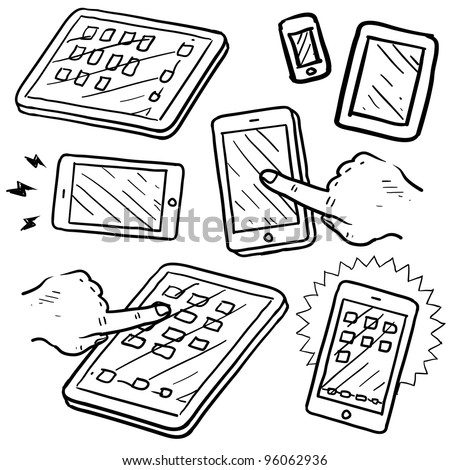 Doodle style mobile devices and smartphones in vector format