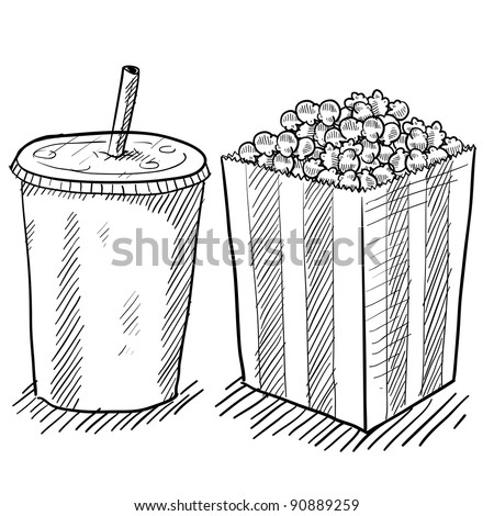 Doodle style movie concessions in vector format including popcorn and soda