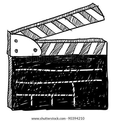 Doodle style movie set clapperboard vector illustration