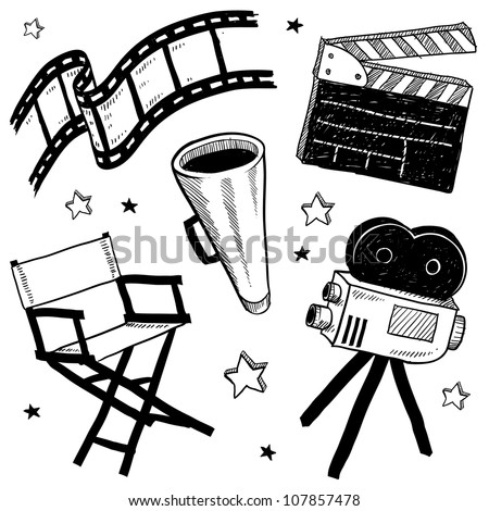 Doodle style movie set equipment sketch in vector format.  Set includes clapperboard, director's chair, megaphone, film strip, and camera.
