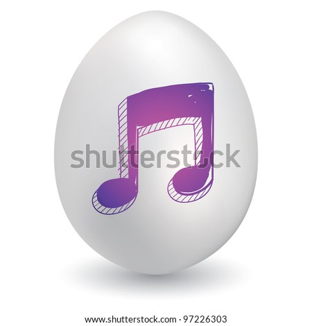 Doodle style music notes sketch on decorated Easter Egg in vector format
