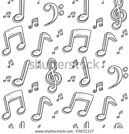 Doodle style musical notes seamless background pattern sketch in vector format
