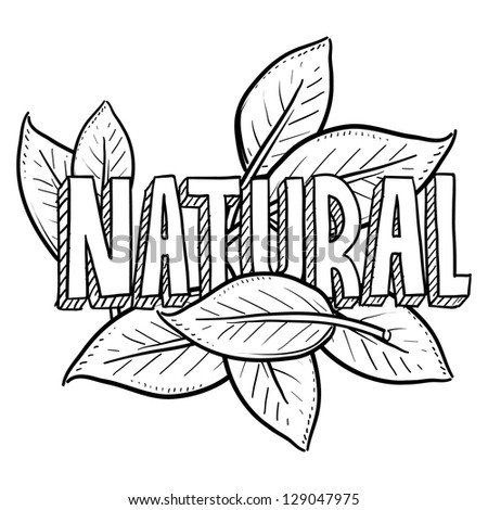 Doodle style natural food or product illustration in vector format.  Includes title text and leaves.