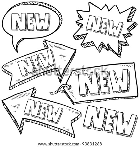 Doodle style new tags, labels, and arrows sketch in vector format