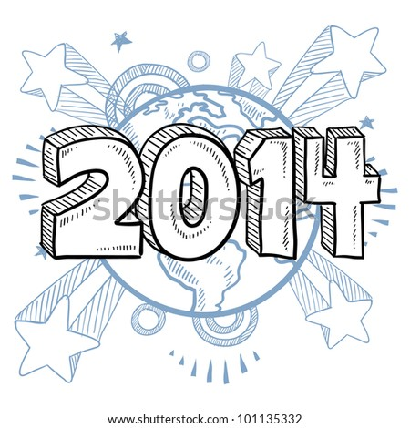 Doodle style 2014 New Year illustration in vector format with retro 1970s shooting stars pop background