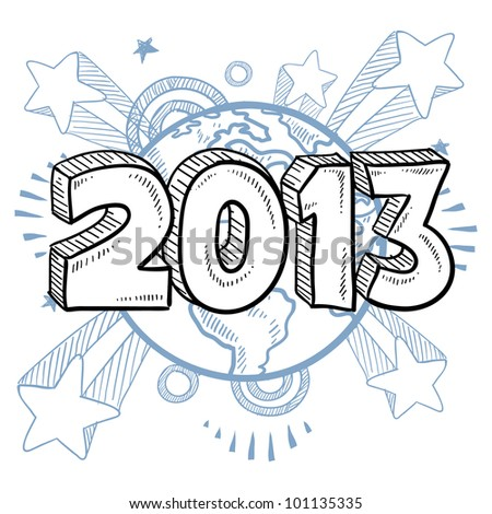 Doodle style 2013 New Year illustration in vector format with retro 1970s shooting stars pop background