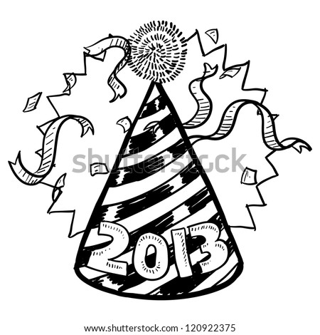 Doodle style New Year's Eve celebration sketch including party hat, confetti, and 2013 date marker.  Vector format.
