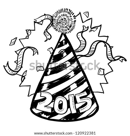 Doodle style New Year's Eve celebration sketch including party hat, confetti, and 2015 date marker.  Vector format.