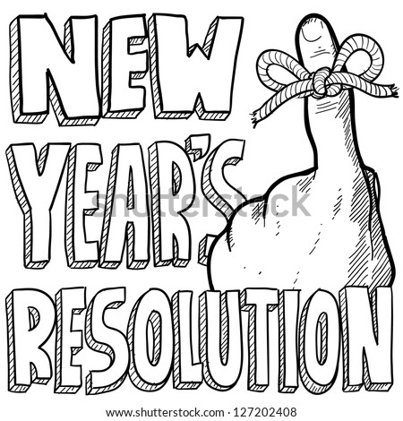 Doodle style New Year's Resolution reminder in vector format.  Includes string tied around the finger with text.