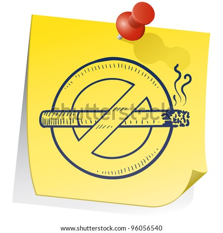 Doodle style nonsmoking symbol on yellow stick note in vector format.