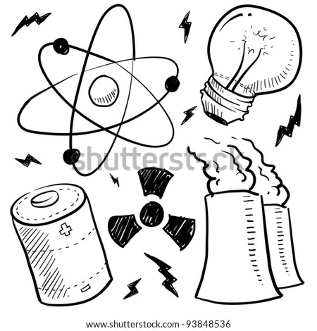 Doodle style nuclear energy or power sketch in vector format. Set includes atom, battery, light bulb, radiation warning, and nuclear power plant.