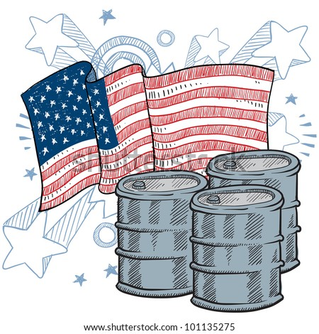 Doodle style oil barrel with American flag sketch in vector format