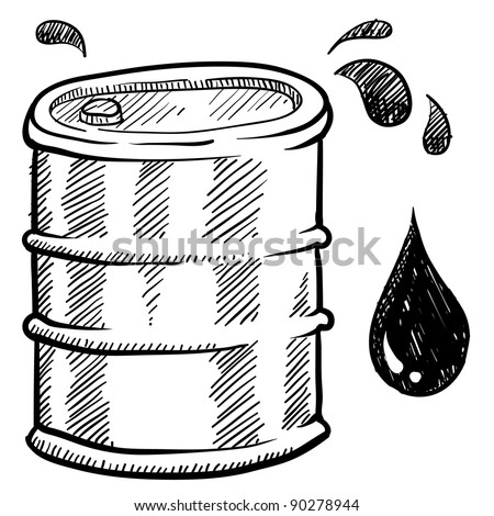 Doodle style oil or water barrel vector illustration
