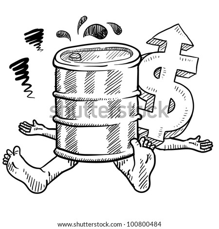 Doodle style oil prices hurting people illustration in vector format