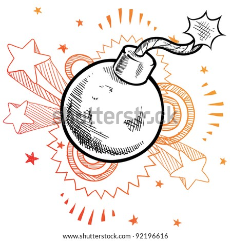 Doodle style old fashioned explosive bomb illustration in vector format with retro 1970s pop background