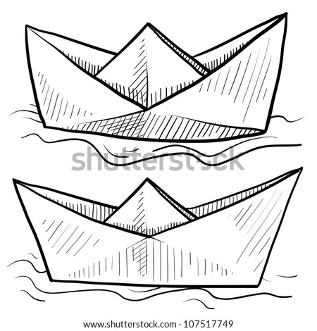 Doodle style origami folded paper boat floating on water in vector format.