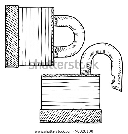 Doodle style padlock or security vector illustration - stock vector