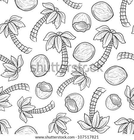 Doodle style palm tree and coconut seamless background pattern ready for tiling in vector format.