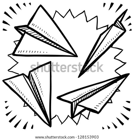 Doodle style paper airplane variety illustration in vector format