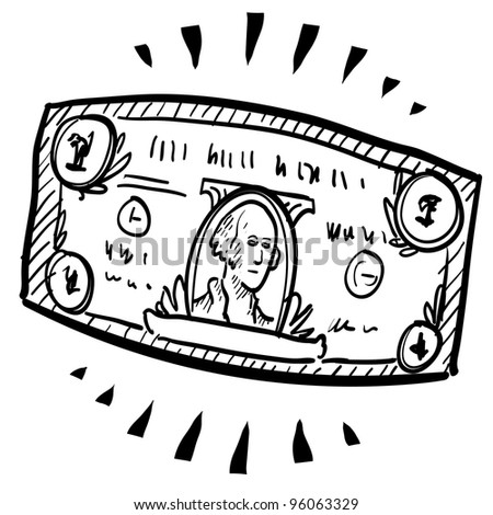 Doodle style paper currency or dollar bill illustration with motion mark indicating stretching or expansion.  Vector file.