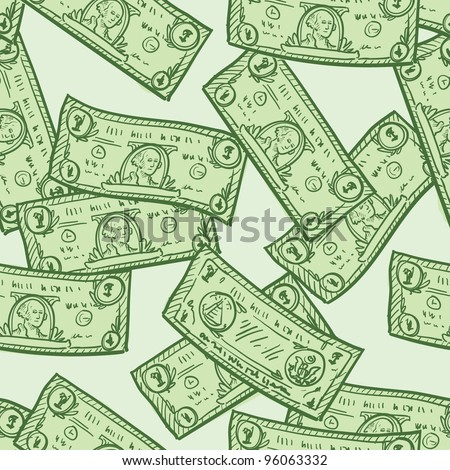 Doodle style paper currency or dollar bill seamless background patter in vector format