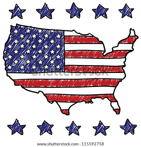 Doodle style patriotic map of the United States illustration in vector format.