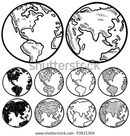 Doodle style perspectives on the globe sketch in vector format