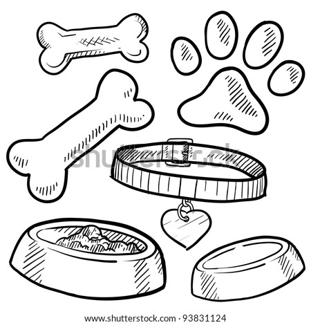 Doodle style pet gear sketch in vector format.  Set includes bones, collar, food and water bowl, and footprint